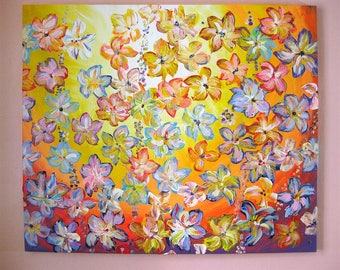 Delightful - Original Abstract Floral Acrylic painting on Stretched canvas, SIze 32''x27