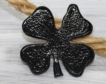 Four Leaf Clover Pendant, Black  Patent Genuine Leather , Necklace  Leather Charm