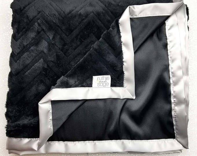 Minky blanekt, Baby Blanket, chevron Blanket, silky blanket, Baby boy, Adult Minky, black and silver, satin blanket, silky, Gift for Man