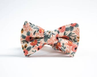 Bow Tie for Boys ages newborn, baby, toddler, teen, and adult in Rifle Paper & Co Rosa in Peach floral, FREE shipping. great photo prop.