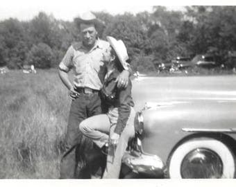 "Vintage Snapshot ""Tex & Edie"" Cowgirl In Love With Sexy Cowboy Vintage Buick With White Wall Tires Found Vernacular Photo"