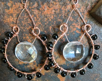 Black Jasper and Quartz Crystal Earrings