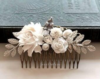 Wedding Hair Comb, White, Leaf, Rustic, Woodland, Bridal Headpiece, Hair Slide for Bride, Grecian, Vintage Style, Boho, Bridesmaid Gift