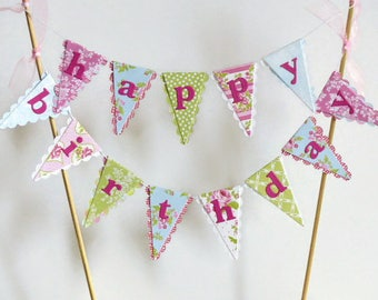 Happy Birthday Cake Bunting Topper - Tea Party - Pink, Blue, Green - Girls Birthday