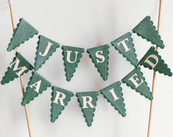 Just Married Wedding Cake Bunting Topper - Green & White - Winter Wedding