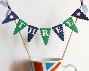 Navy Blue and Green Cake Topper - Boys Third Birthday Cake Bunting - THREE Year Old Boy