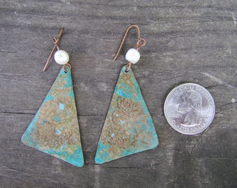 Copper and Pearl , Rustic, Patina, Asymmetrical Earrings