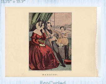 Americana Married and Single Currier & Ives Vintage Lithograph Print Victorian family bachelor life Paper Ephemera Book Page z60-61