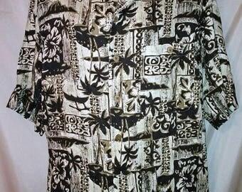 """BIG SUMMER SALE 80s Vintage Rayon Print Shirt Hawaii Cruise Luau-Collar Loop-Man Men Aloha Hawaiian-50"""" Chest-xL-1X-Tiki Print"""