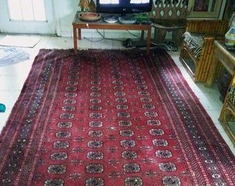 SUMMER CLEARANCE SALE 80s Vintage Wool Bokhara Rug-12'x8'-Handmade Carpet