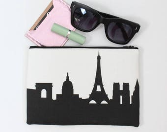 PARIS FRANCE Skyline Wristlet Clutch. Skyline Wristlet. Skyline Clutch. Twill Clutch. Skyline Silhouette Purse. Gifts for Her. Travel Gift.