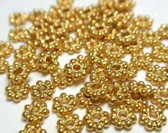 4mm Brite Gold Pewter Heishi Daisy Spacer Beads, Bright Gold Lead Free Pewter Daisy Spacers - 50 Beads