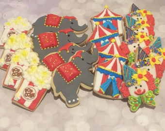 Circus cookies - circus party - elephants - popcorn - tents - clowns - Kosher - & Circus tent cookies | Etsy