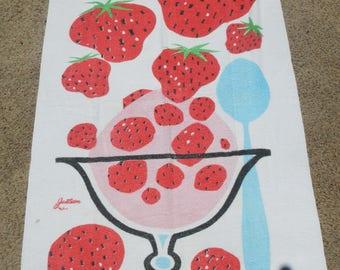 Vintage Jantzen Strawberry Sundae Large Terry Cloth Beach Towel // Summer //Beach