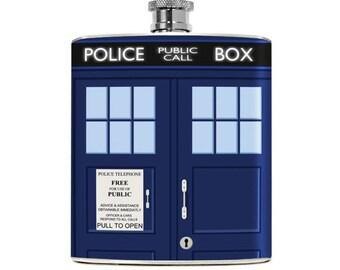 Tardis Flask 6oz Stainless Steel Gift Blue Doctor Who Tardis Gift