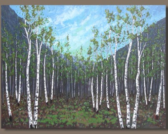 huge birch tree painting, large forest painting, birch trees, large landscape painting, aspen forest, tree painting, large wall art, oblong