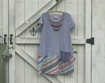Hippie dress L, gray tunic casual, upcycled Boho tunic, rustic clothing