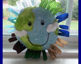 Earth Happy // Handmade Baby Toy // Embroidered and Applique // Sensory Toy  // Ribbons // Rattle // Baby Shower // Gift Idea