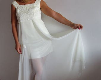 cream wedding gown,  ivory wedding dress, Eco Wedding Dress, Unique Ivory chiffon lace wedding dress,  upcycled bridal gown, Size 6, Small.