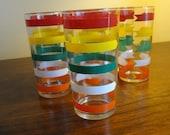 Multicolor 10oz. Banded 50's Glassware - 7 Pieces - Excellent Shape