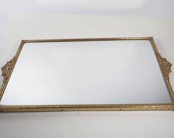 Vanity Dresser Rectangle Tray Mirror - Vintage Brass Mirror Tray