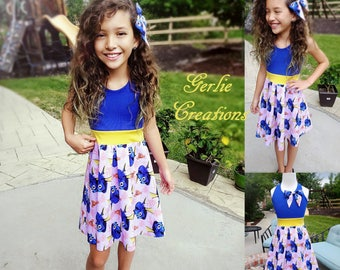 FINDING DORY Dress, Girls Dress, Finding Dory, Finding Nemo,  Aurora Dress, Girls Dory Dress, Blue Yellow Dress  - Available 2y - 12y