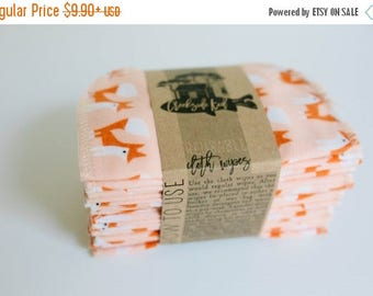 ON SALE Organic Cloth Wipes - Cloud9 Flannel Cloth Wipes - Organic Wipes - Double Layer -  Fox Print - Choose your Quantity & Size