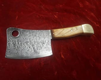 Hand forged meat cleaver.
