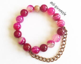Fuschia Agate Bauble Bracelet w/ Copper Chunky Chain