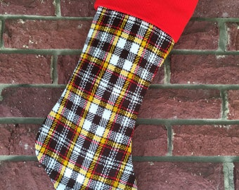 Plaid Stocking, Vintage Plaid Stocking, Unique 70s fabric Stocking, Lined Stocking, Xmas Holiday, Handmade Boutique Stocking Plaid Christmas