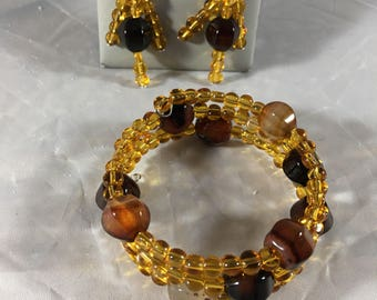 Amber and brown beaded bracelet and earring set