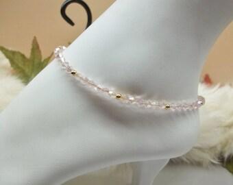 Real 14kt Gold Ankle Bracelet Pink Crystal Anklet Pink Anklet Pink Crystal Ankle Bracelet Solid 14kt Gold Ankle Bracelet BuyAny3+Get1 Free