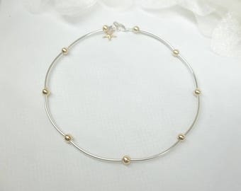 14k Gold Starfish Anklet 14kt Solid Gold Anklet Sterling Silver Anklet Real 14k Gold Anklet or Gold Filled Anklet Buy3+1Free