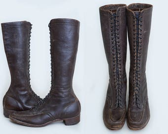 1920s Tall Lace Up Boots Women's Work Wear Brown Leather Gloria Boot, 7.5