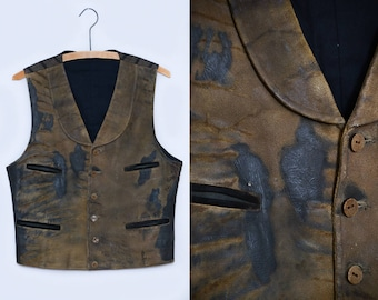 Distressed Leather Western Vest made by Hollywood Studios Four Pocket Ranch Hand Cowboy Vest