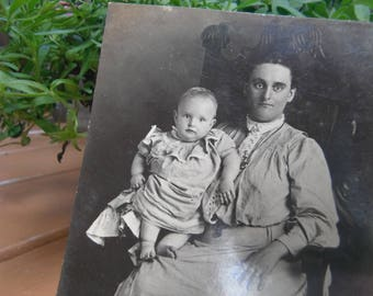 Early 1900's RPPC - Real Photo Postcard - Mother and Child