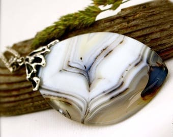 Statement Pendant Agate Necklace Sterling Silver Jewelry