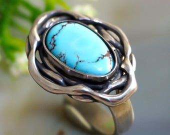 Turquoise Ring Blue Stone Sterling Silver Jewelry