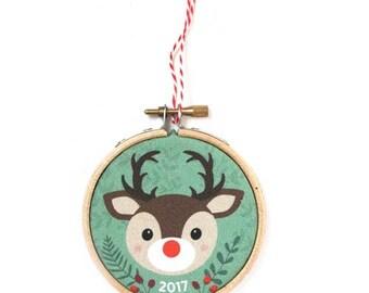 Christmas 2017 ornament - Christmas decoration, reindeer, Rudolph, hoop
