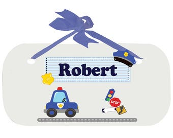 Personalized Police Nursery Door Hanger Plaque with blue ribbon Law Enforcement Cop car future officer Blue Line Gray dad  WPLAQ-blue-215e