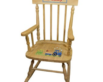 Personalized Natural Childrens Rocking Chair with Blue Tractor Design-spin-nat-211c