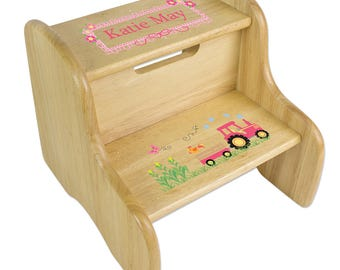 Personalized Natural Two Step Stool with Pink Tractor Design-fixe-nat-211d