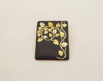 Vintage Amita Brooch/Pendant, Damascene Brooch, Japanese Damascene Black and Gold Brooch/Pendant