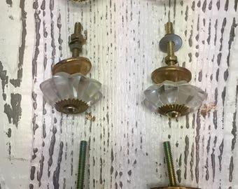Set of 6 Vintage Flower Shaped Glass Drawer Knobs