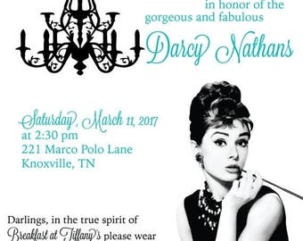 SALE 15% Off Ends Sunday Breakfast at Tiffany's Bridal Shower Theme, Audrey Hepburn inspired invitations, Tiffany Blue Bridal Shower, Tiffan