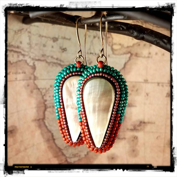 Southwest Makabibi Shell Earrings, Pearl White Shell, Beachy Boho Earrings
