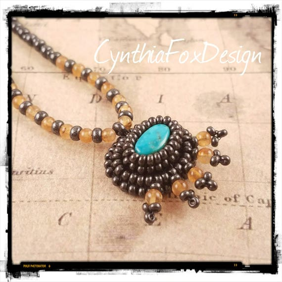 Yellow Citrine and Natural Blue Turquoise Pendant