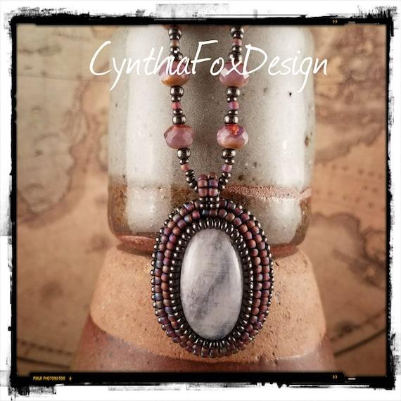 Iridescent Milky Purple Rainbow Moonstone Necklace