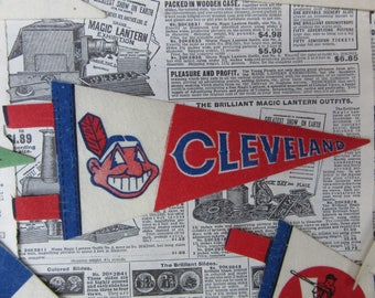 Vintage Cleveland Indians Pennant MLB Baseball vtg Pennant Felt Small 8 Inch Mini Pennant Collectibe Banner Flag 1970s 80s Era Sports Team