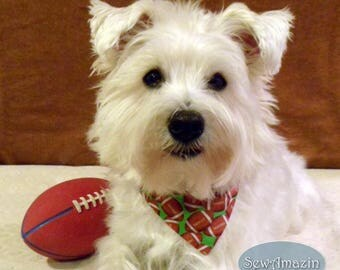 Football Dog Bandana, Over-the-Collar Dog Bandana, Small Dog Bandana, Sports